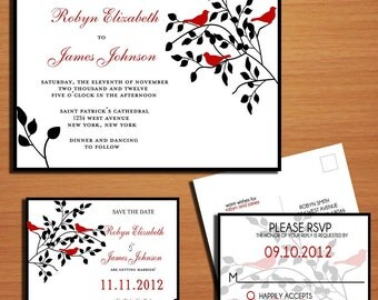 Red Love Birds and Black Wedding Collection / Invitation / RSVP / Save the Date Postcard PRINTABLE / DIY