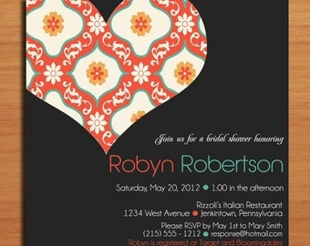 Cutout Heart Bridal Shower Customized Printable Invitations /  DIY