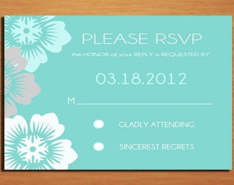 Aqua Floral Wedding RSVP Postcard PRINTABLE / DIY