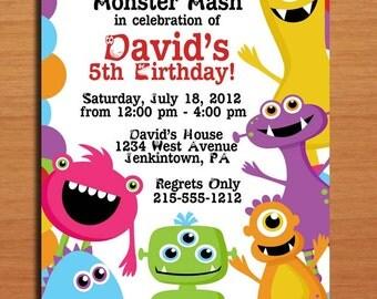 Monster Mash / Birthday Party Invitation Cards PRINTABLE DIY