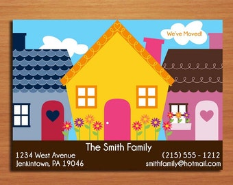 Moving Announcement / Bright Houses / Customized Printable DIY