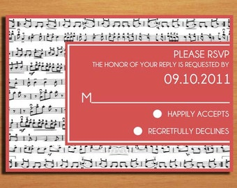 Music Lovers Wedding RSVP Postcard PRINTABLE / DIY