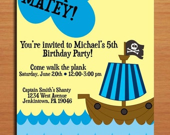 Pirate Ship Boy / Birthday Party Invitation Cards PRINTABLE DIY