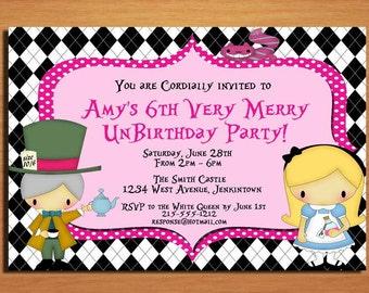 Alice in Wonderland / Very Merry UnBirthday Party Invitation Cards PRINTABLE DIY