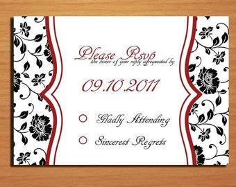 Fancy Floral Wedding RSVP Postcard PRINTABLE / DIY