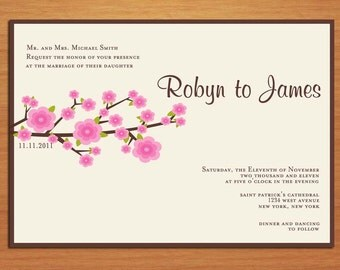 Cherry Blossom Branch Wedding Invitation PRINTABLE / DIY