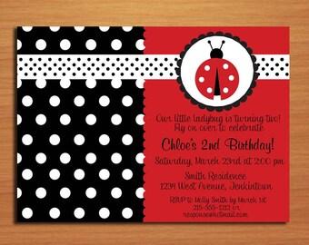 Ladybug Polkadot Black and Red / Birthday Party Invitation Cards PRINTABLE DIY
