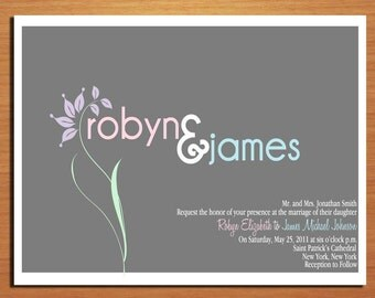 Pastel Floral Modern Spring Wedding Invitation PRINTABLE / DIY