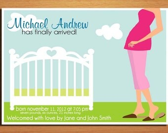New Mom and Crib/ Customized Printable Baby Birth Announcement / DIY