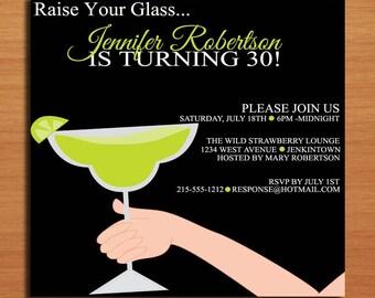 Raise Your Glass Lime / Margarita 30th Birthday / Customized Printable Adult Birthday Party Invitation Cards DIY