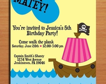 Pirate Ship Girl / Birthday Party Invitation Cards PRINTABLE DIY
