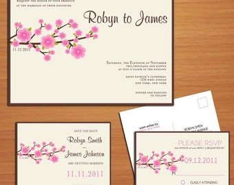 Cherry Blossom Branch Wedding Collection / Invitation / RSVP / Save the Date Postcard PRINTABLE / DIY