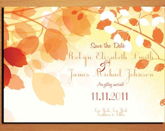 Fall Branches/ Autumn Wedding Save the Date PRINTABLE / DIY