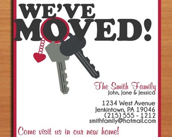 Moving Announcement / Heart Keychain / Customized Printable DIY