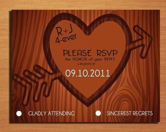 Carved Tree / Monogram Wedding RSVP Postcard PRINTABLE / DIY