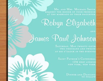 Aqua Floral Wedding Invitation PRINTABLE / DIY