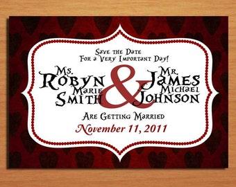 Queen of Hearts / Alice in Wonderland Modern Wedding Save the Date PRINTABLE / DIY