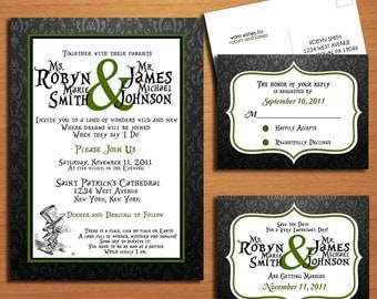 Mad Hatter / Alice in Wonderland Modern Wedding Collection / Invitation / RSVP / Save the Date Postcard PRINTABLE / DIY
