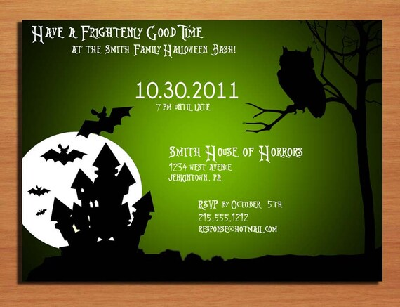 Customized Printable Halloween Party Haunted House and Owl Invitations /  DIY