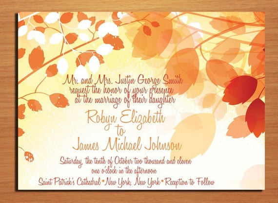 Fall Branches Autumn Wedding Invitation PRINTABLE DIY