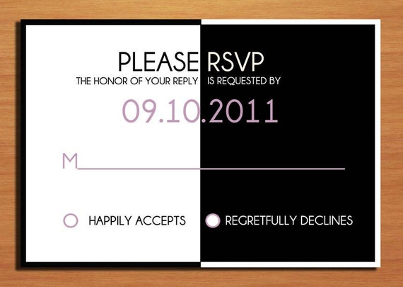 "Black and White ""Better Half"" Stick Figure Couple Wedding RSVP Postcard PRINTABLE / DIY"