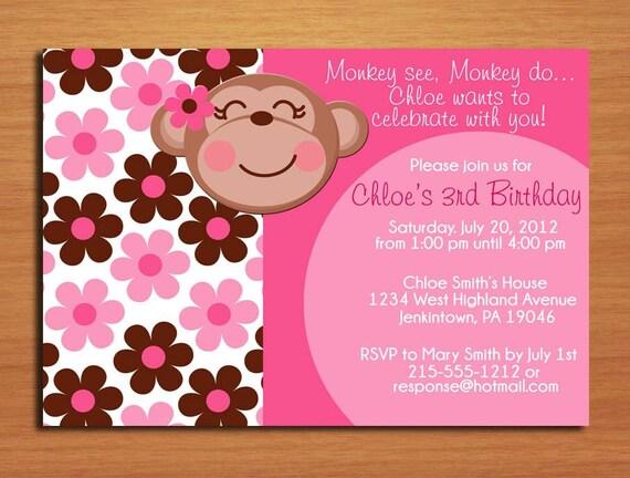 Monkey Girl / Birthday Party Invitation Cards PRINTABLE DIY