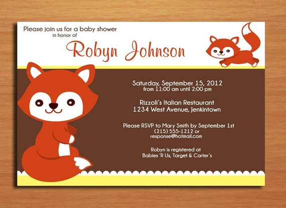 Little Fox /  Baby Shower Invitation Cards / PRINTABLE / DIY