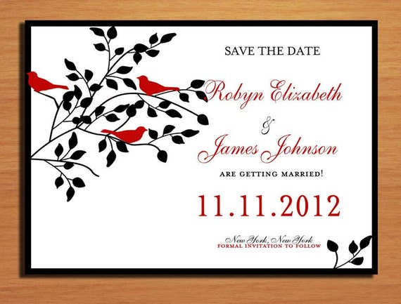 Red Love Birds and Black Wedding Save the Date PRINTABLE / DIY