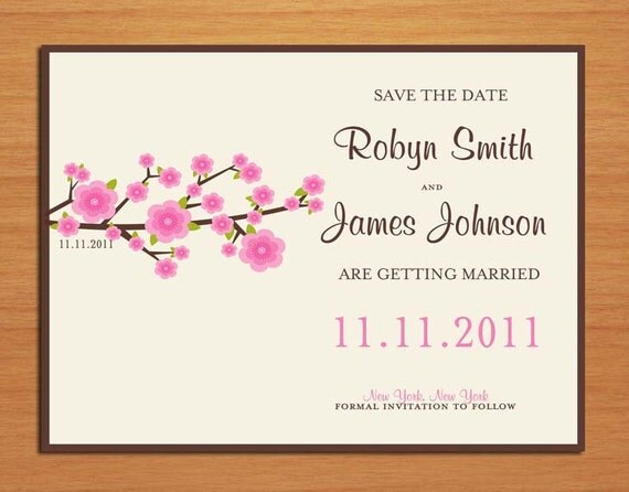 Cherry Blossom Branch Wedding Save the Date PRINTABLE / DIY
