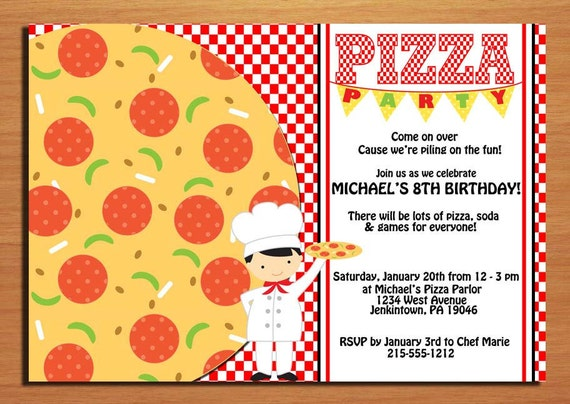 Pizza Party Customized Printable Birthday Party Invitation Cards DIY