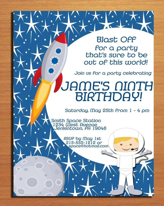 Outer Space / Astronaut Customized Printable Birthday Party