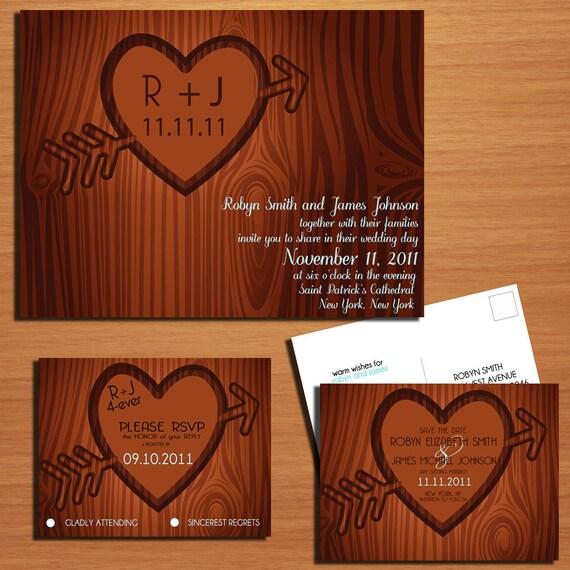 Carved Tree / Monogram Wedding Collection / Invitation / RSVP / Save the Date Postcard PRINTABLE / DIY
