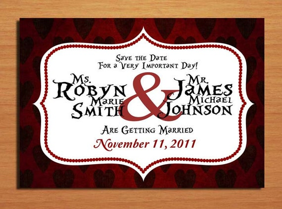 Queen of Hearts / Alice in Wonderland Modern Wedding Save the Date PRINTABLE / DIY