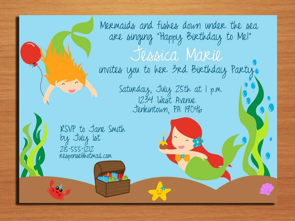 Little Mermaid Under The Sea Birthday Party Invitation Cards