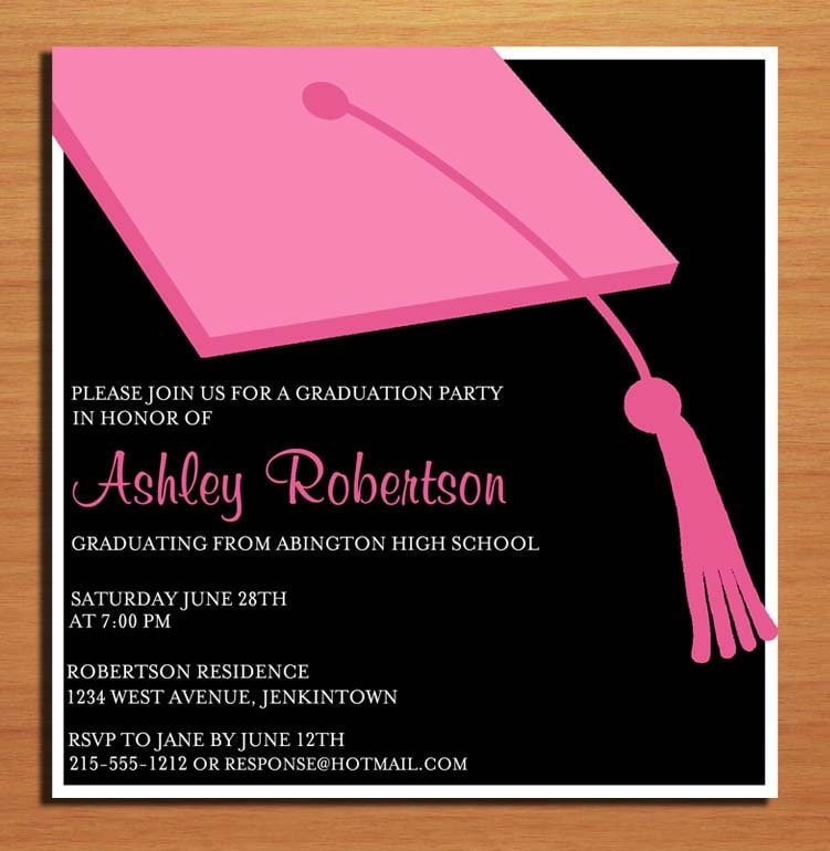 pink clapboard hat graduation party invitation cards printable