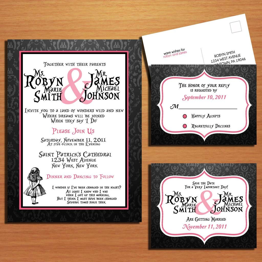 Alice And Wonderland Wedding Invitations: Alice In Wonderland / Black Damask And Hot Pink Modern Wedding