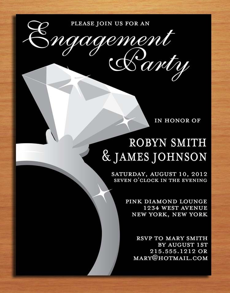 Engagement ring classy engagement party customized printable for Invitation for engagement party