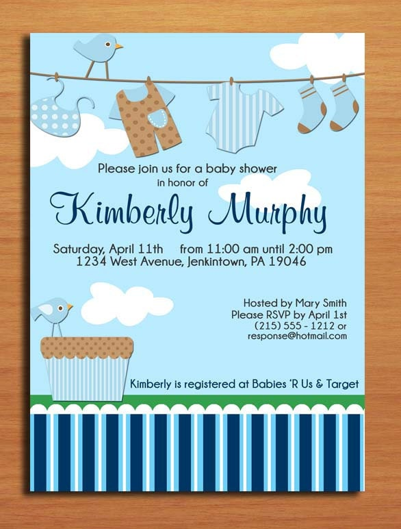 baby boy laundry baby shower invitation cards printable