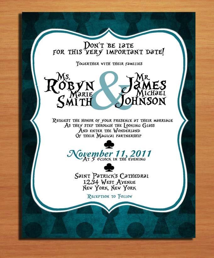Alice In Wonderland Key Hole Modern Wedding Invitation