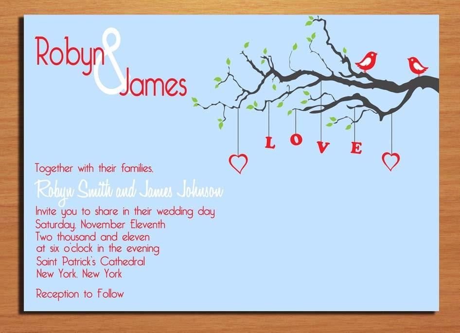 Love Birds Wedding Invitations: Love Birds Wedding Invitation PRINTABLE / By