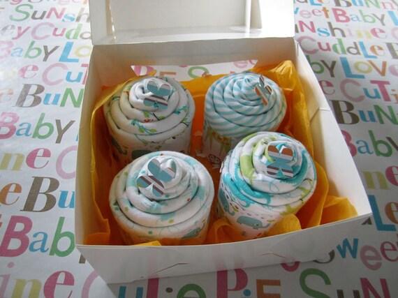 baby receiving blanket cupcakes - gender neutral baby shower new mom gift - 4 pack