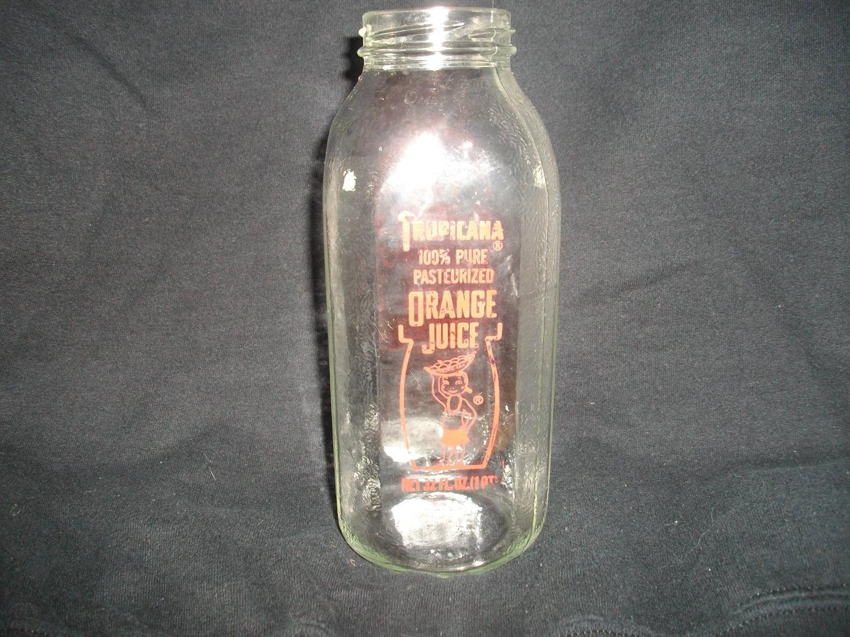 Tropicana Orange Juice Quart Glass Bottle with Hawaiian Girl