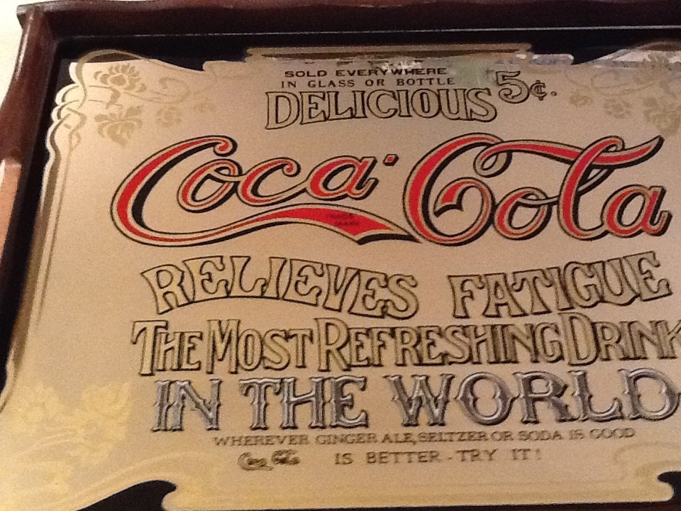 Coca Cola Mirrored Glass Serving Tray Wood Handled