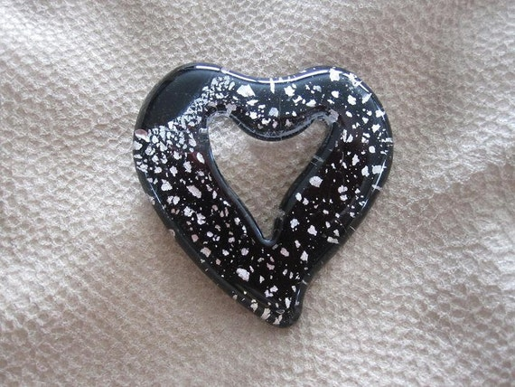 Black and Silver Foiled Glass Heart Lampwork Pendant