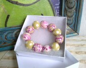 SALE - Handmade Bracelet - pink bracelet - polymer clay bracelet - handmade beads