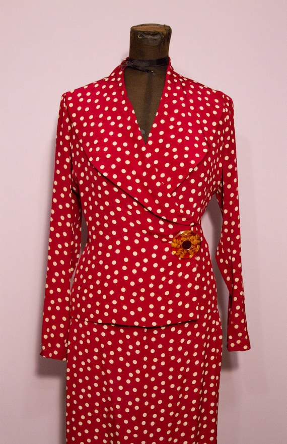 1930's Red Polka Dot Silk Suit