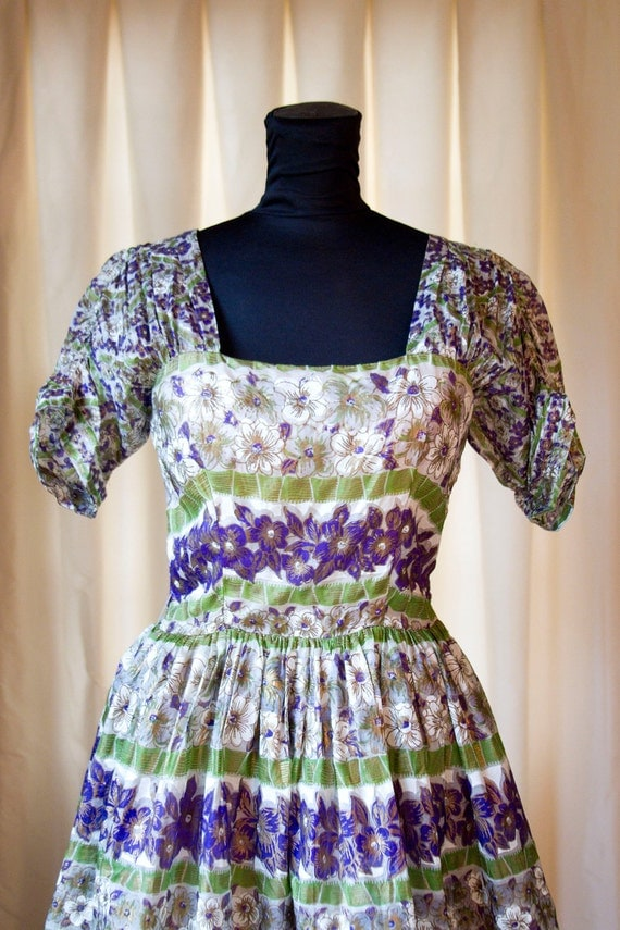 1950s Dress // Painted Purple and Gold Organdy Dress by Gigi Originals