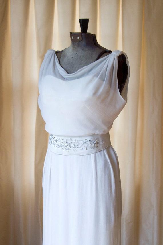 1960's White Silk Chiffon Wiggle Cocktail Dress with Beaded Belt by Carol Craig