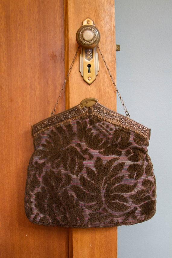 1920's Hinged Carpet Bag Purse