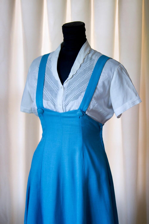 1940 S Turquoise Blue Overall Jumper Skirt And Bolero